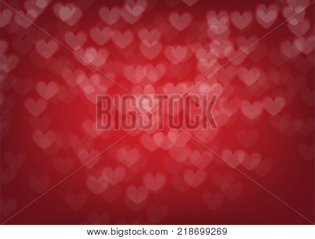 Blur bokeh Valentines day heart holiday background. Luxury gradient backdrop. Vector illustration wedding frozen decoration. Festive shiny defocused wallpaper. Glowing blurred winter greeting sparkle.