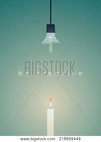 Business vector concept finding creative solution. Broken lightbulb versus candle, simple solution, keep it simple. Eps10 vector illustration.