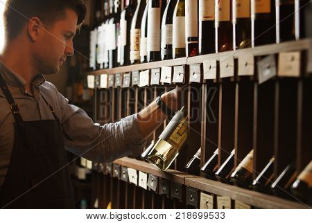 Thoughtful expert in wine-making on background of shelves with wine. Young sommelier holding bottle of wine in cellar, reading information on sticker about drink.