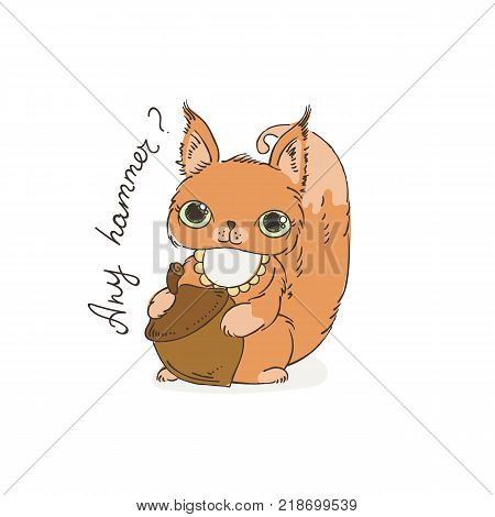 Cute carton squirrel with nut. Vector illustration for kids and children. Color page.
