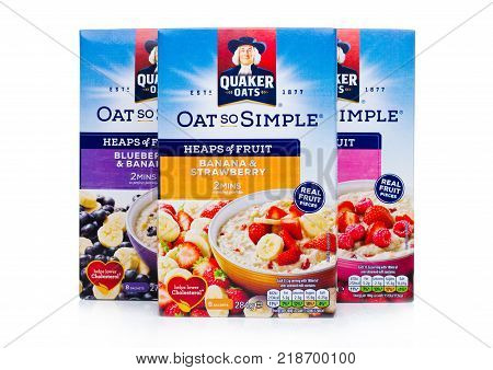 London, Uk - December 15, 2017: Boxes Of Quaker Oats Porridge With And Fruits On White. It Has Been