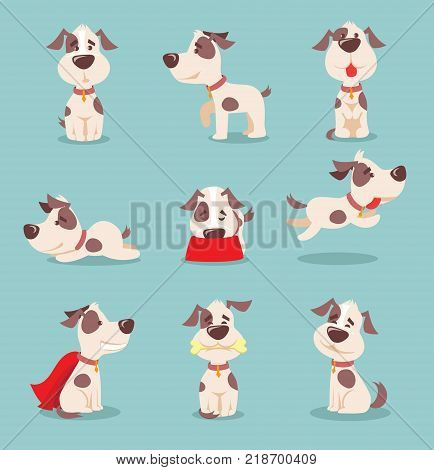 Vector illustration of cute and funny cartoon little dogs-pupies
