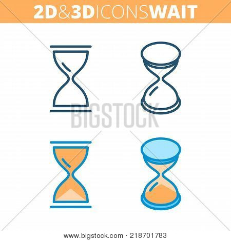 The hourglass. Flat and isometric 3d outline icon set. The sandglass, timer, pause and waiting concept line pictograms. Vector linear infographic element for web design, social media, presentation.