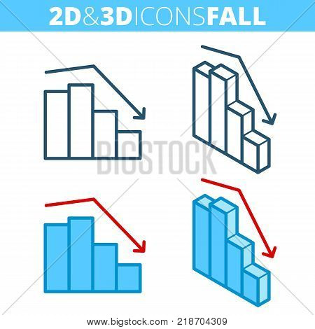 The fall graph. Flat and isometric 3d outline icon set. Business decrease, decline, recession line pictogram collection. Vector linear infographic elements for web design, social media, presentations.
