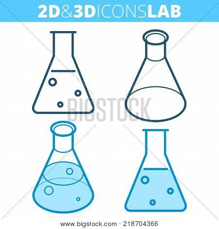 The cone-bottomed flask. Flat and isometric 3d outline icon set. The medical, science laboratory equipment line pictogram. Vector linear infographic elements for web design, social media, presentation