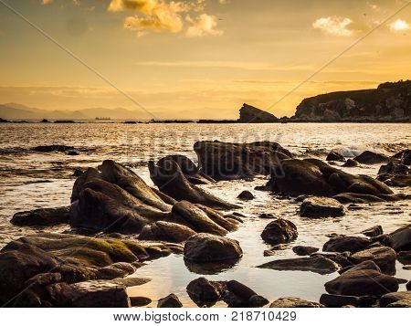 rocky coastline at the spanish side of the strait of Gibraltar Spain Europe view to morocco