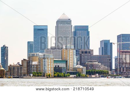 Skyscrapers in Canary Wharf a major financial district in London