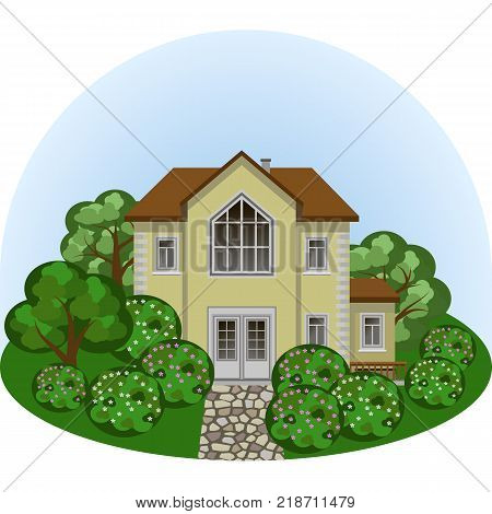 Family manor house in summer landscape scene. House colorful trees and bushes paved sidewalk. Cartoon flat design style vector illustration front view