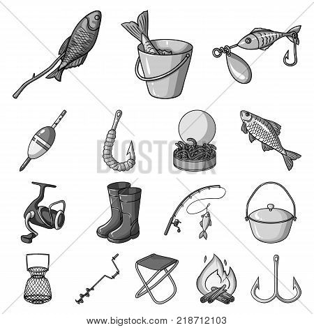 Fishing and rest monochrome icons in set collection for design. Tackle for fishing vector symbol stock  illustration.