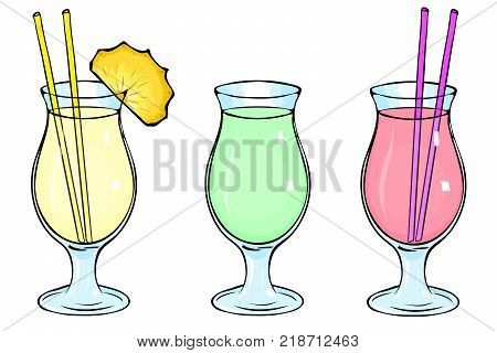 Set of three cocktails. Cocktail glass Pina Colada, smoothies, mojito. Pina Colada cocktail with a slice of pineapple. Green smoothies, pink, strawberry, berry smoothies. Glass goblet, straw. Eps 10