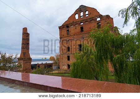 Gergardt mill - building of a steam mill of early XX century, destroyed in Battle of Stalingrad during Second World War. Volgograd, Russia