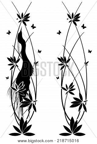 set of vector vertical dividers with egret butterflies and flowers of lotus