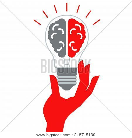 Lightbulb with brain icon. Сreative idea design concept. Isolated vector illustration.