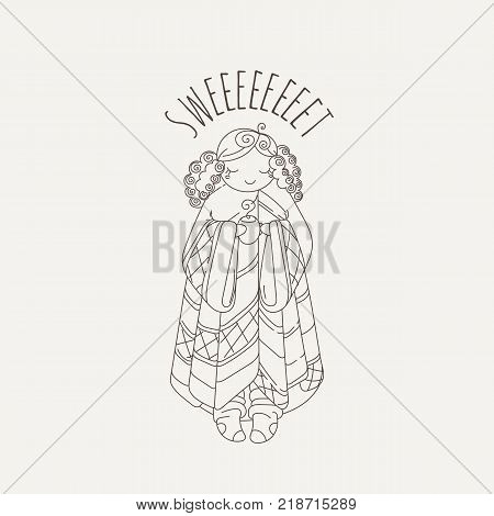 Doodle illustration of a cute girl with a cup and plaid and wrapped in a blanket. Postcard or book image. Coloring image.