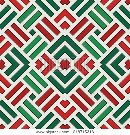 Wicker Seamless Pattern. Basket Weave Motif. Christmas Traditional Colors Geometric Background With