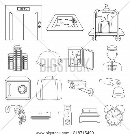 Hotel and equipment outline icons in set collection for design. Hotel and comfort vector symbol stock  illustration.