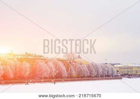 St.-Petersburg's picturesque winter landscape. Trees covered with snow on the Admiralty embankment, Senate square and frozen river. The view from the opposite Bank of the Neva.