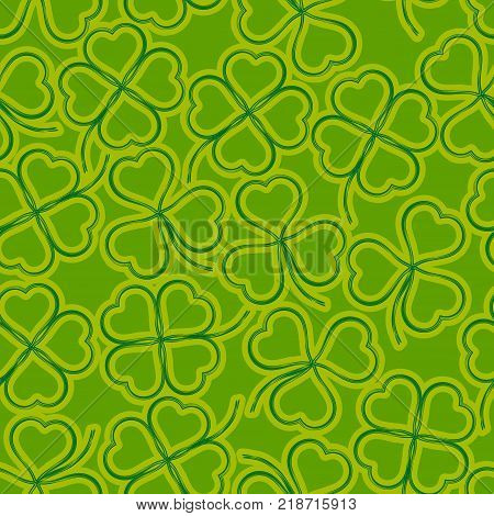 Seamless Floral Saint Patrick Holiday Pattern, Symbolic Clover Plants, Three-Leaved and Four-Leaved, Green and Yellow Contours on Tile Background. Vector