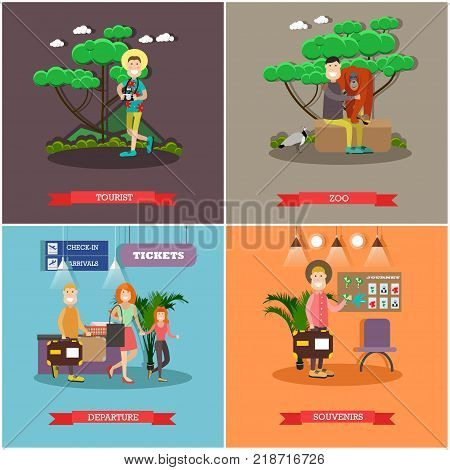 Vector set of tourist posters, banners. Tourist, Zoo, Departure and Souvenirs concept flat style design elements.
