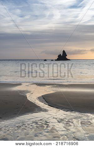 Beautiful Sunrise Landsdcape Of Idyllic Broadhaven Bay Beach On Pembrokeshire Coast In Wales