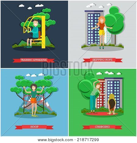 Vector set of training outside posters, banners. Training apparatus, Skipping rope, Hoop and Charging flat style design elements.
