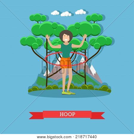 Vector illustration of beautiful slim woman doing hula hoop exercises in the park. Outdoors workout flat style design element.