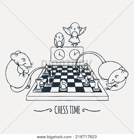 Two cute rats playing chess, parrots watch and switch the time. Vector illustration.