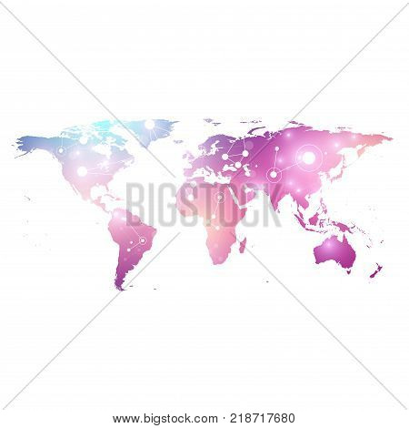 Vector template World map with global technology networking concept. Global network connections. Digital data visualization. Lines plexus. Big Data background communication. Perspective backdrop.