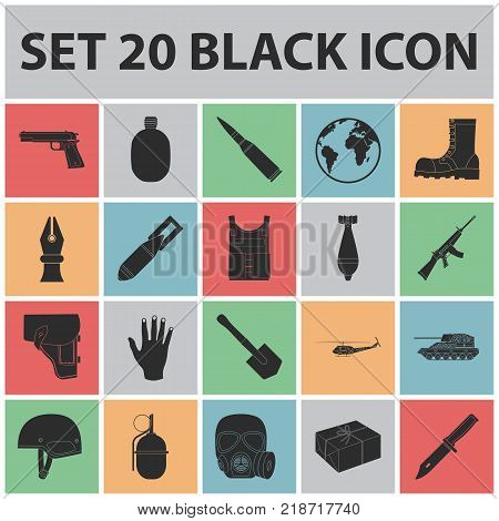 Army and armament black icons in set collection for design. Weapons and equipment vector symbol stock  illustration.
