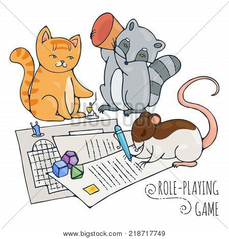 Animals playing board role-playing game. Vector illustration.