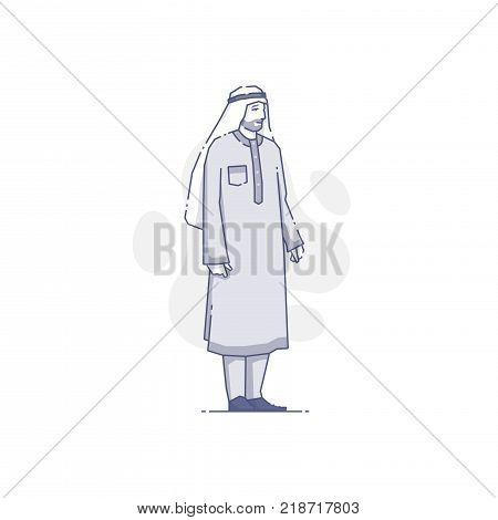 Vector illustration of Arabian man in traditional clothes isolated on white.
