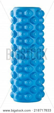 Blue massage roller isolated on white background
