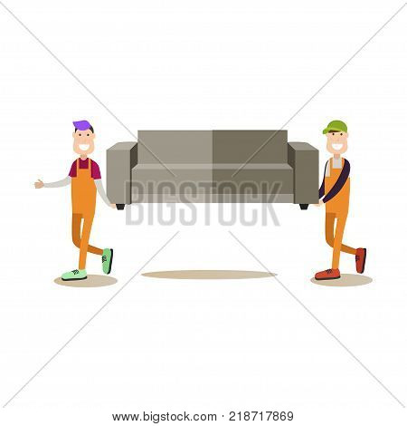 Vector illustration of loaders carrying sofa. Moving company services. Professional workers flat style design element, icon isolated on white background.