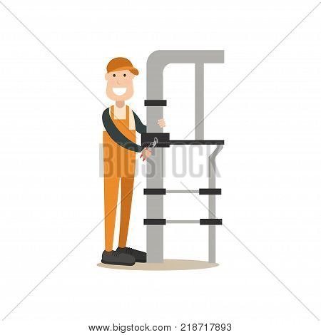 Vector illustration of plumber fixing leaking water pipes with pipe wrench. Professional worker flat style design element, icon isolated on white background.