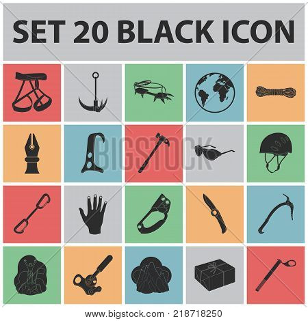Mountaineering and climbing black icons in set collection for design. Equipment and accessories vector symbol stock  illustration.