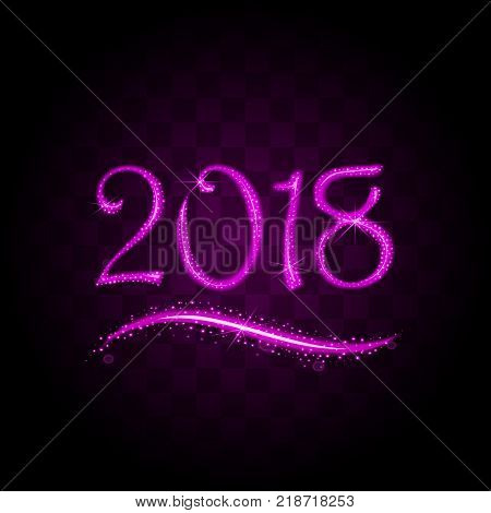 pink purple particles wave in form of 2018 digits with bright shining and glowind particles isolated on transparent background. Glitter bright trail, glowing wave vector illustration