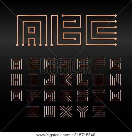 Digital vector alphabet, isolated abstract technology font. Microchip ABC logo set. Electronic circuitry signs collection
