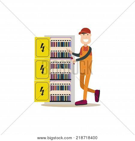 Vector illustration of electrician installing, maintaining or repairing electrical power, lighting system. Professional worker flat style design element, icon isolated on white background.