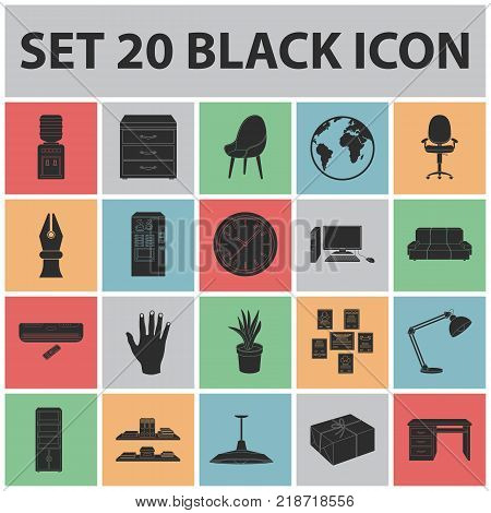 Interior of the workplace black icons in set collection for design. Office furniture vector symbol stock  illustration.