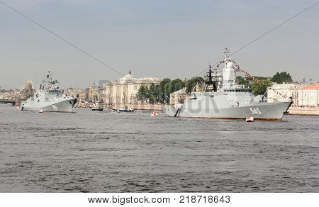 St. Petersburg, Russia - 28 July, Modern warships on parade, 28 July, 2017. Festive parade of warships on the Neva River in St. Petersburg.