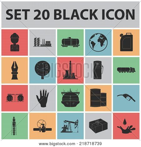 Oil industry black icons in set collection for design. Equipment and oil production vector symbol stock  illustration.