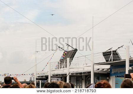 St. Petersburg, Russia - 28 July, Parade of combat aircraft, 28 July, 2017. The festive parade of the air force on the Neva in St. Petersburg.