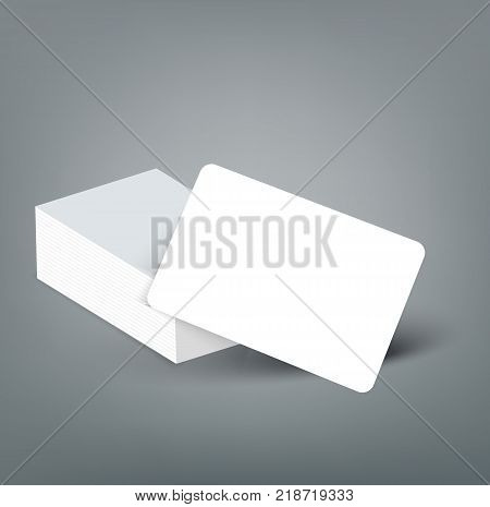 Banking chip credit card realistic mockup. Clear plastic card template