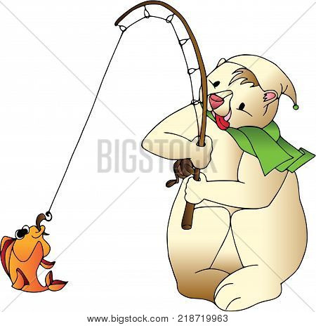 Funny bear with fish. Cartoon characters, isolated, wildlife.