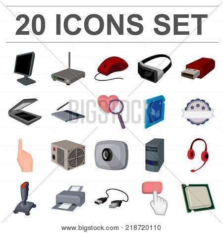 Personal computer cartoon icons in set collection for design. Equipment and accessories vector symbol stock  illustration.