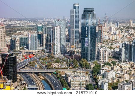 TEL AVIV, ISRAEL - November, 2016: Top view of Tel Aviv from the observation deck of the round tower Azriel center, Israel