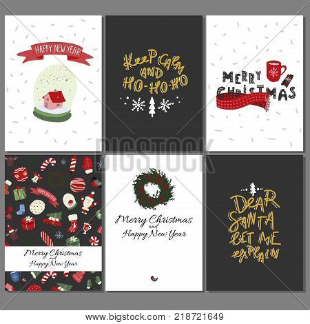 Christmas greeting cards set with winter holiday design elements. Stock vector