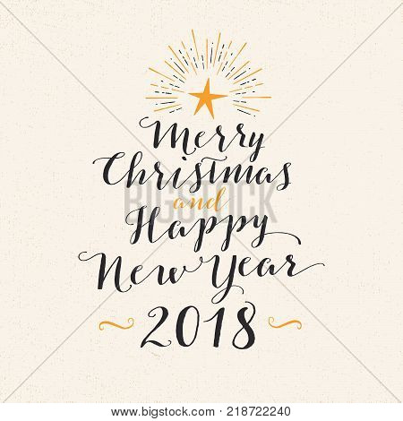 Handmade style greeting card - Merry Christmas and Happy New Year 2018 - Vector EPS10.