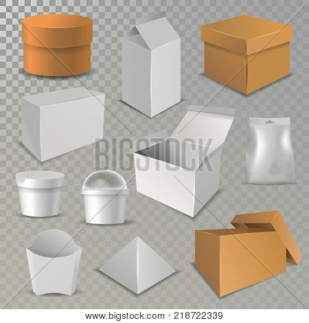 Box package vector cardboard packaging stack of carton packed boxes for delivery and pile of open and close paper, plastic boxed and glass parcels illustration isolated on background.