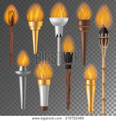 Torch flame vector flaming torchlight or lighting flambeau symbol of achievement torching with burned fireflame 3d realistic illustration isolated on background.